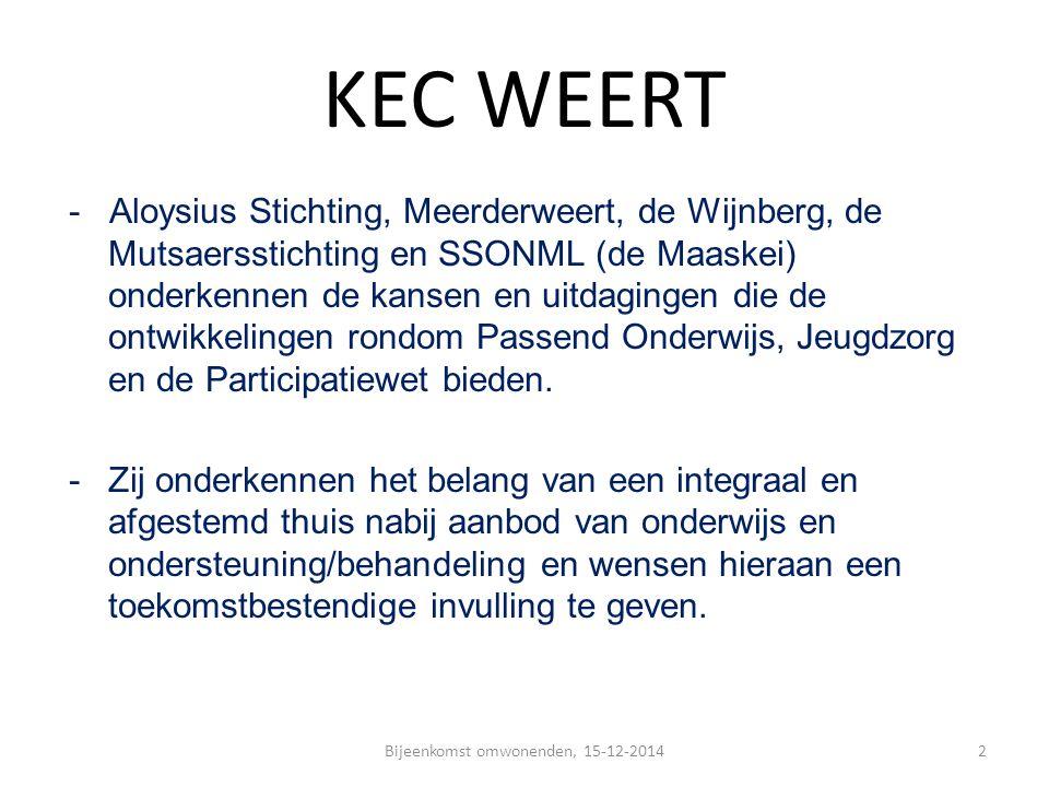 KEC WEERT - Aloysius Stichting, Meerderweert, de Wijnberg, de Mutsaersstichting en SSONML (de Maaskei) onderkennen de kansen en uitdagingen die de ont
