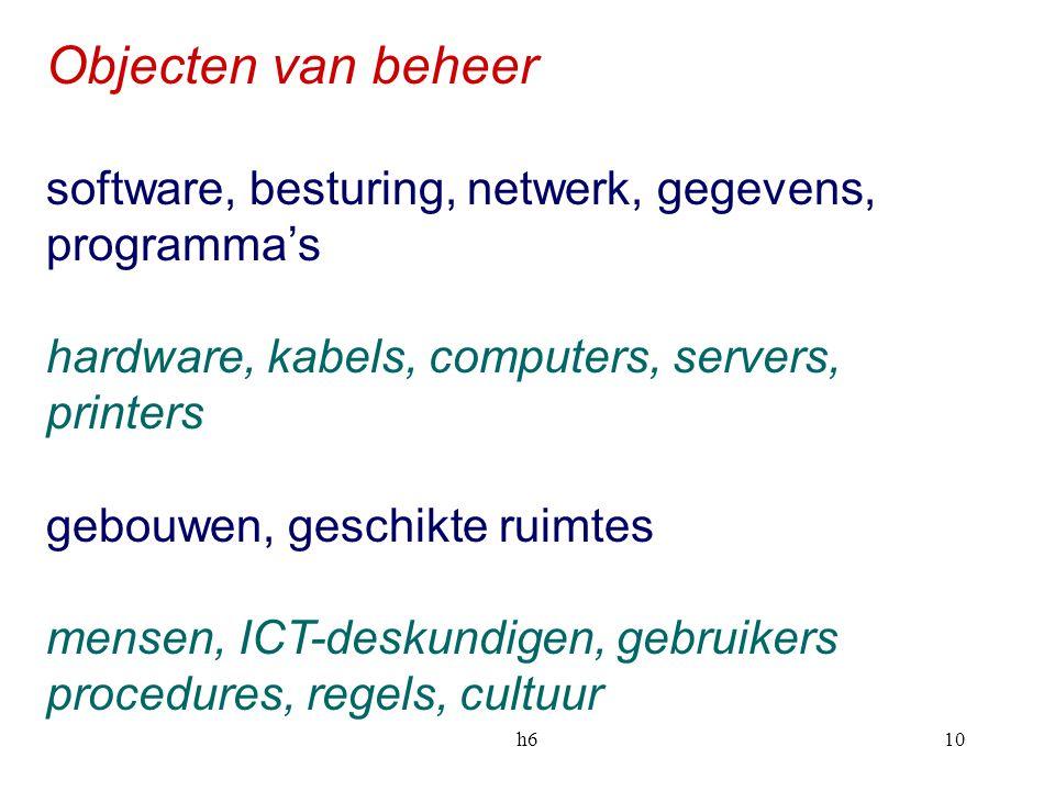 h610 Objecten van beheer software, besturing, netwerk, gegevens, programma's hardware, kabels, computers, servers, printers gebouwen, geschikte ruimte