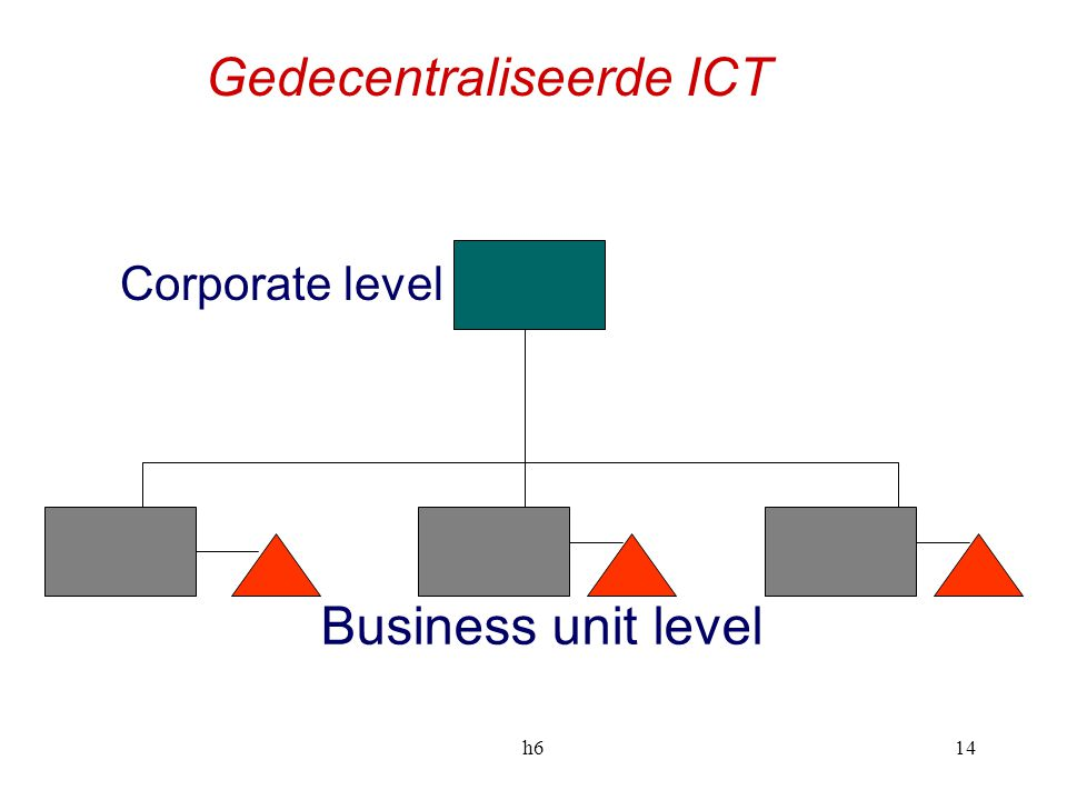 h614 Business unit level Corporate level Gedecentraliseerde ICT