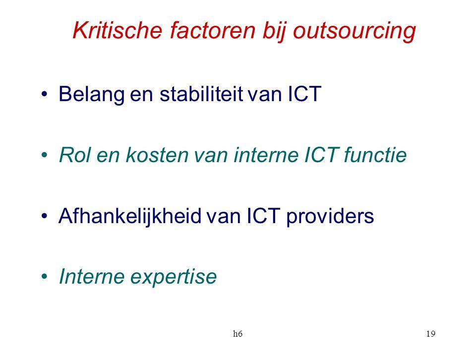 h619 Kritische factoren bij outsourcing Belang en stabiliteit van ICT Rol en kosten van interne ICT functie Afhankelijkheid van ICT providers Interne
