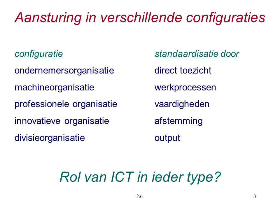 h63 Aansturing in verschillende configuraties configuratiestandaardisatie door ondernemersorganisatiedirect toezicht machineorganisatiewerkprocessen p