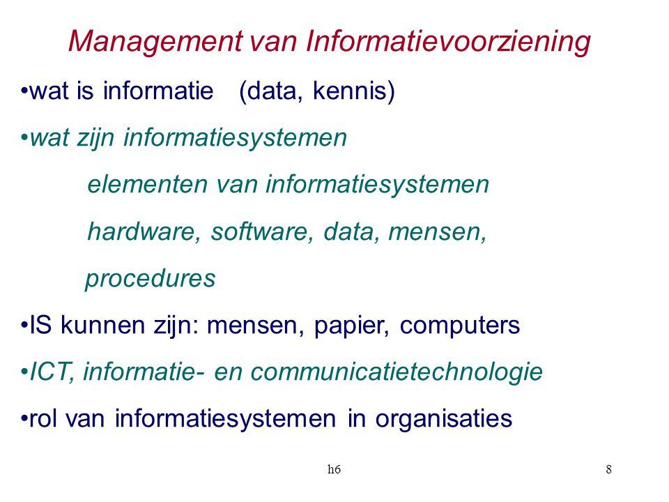 h68 Management van Informatievoorziening wat is informatie (data, kennis) wat zijn informatiesystemen elementen van informatiesystemen hardware, softw
