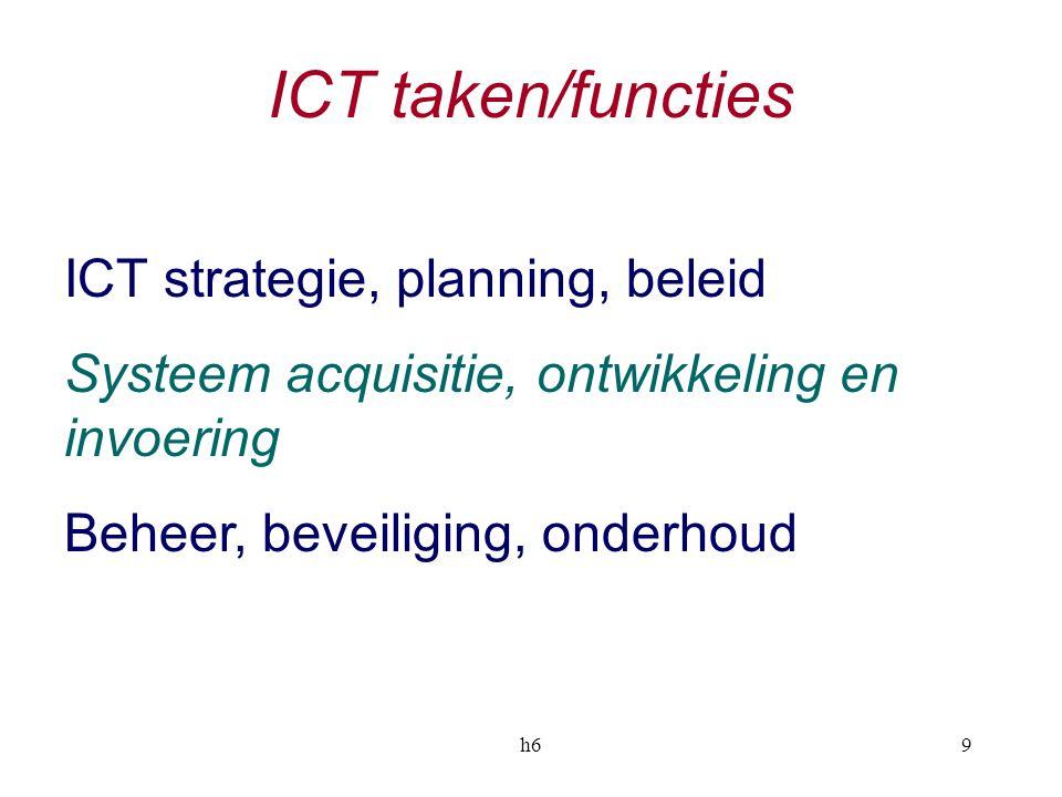 h69 ICT taken/functies ICT strategie, planning, beleid Systeem acquisitie, ontwikkeling en invoering Beheer, beveiliging, onderhoud