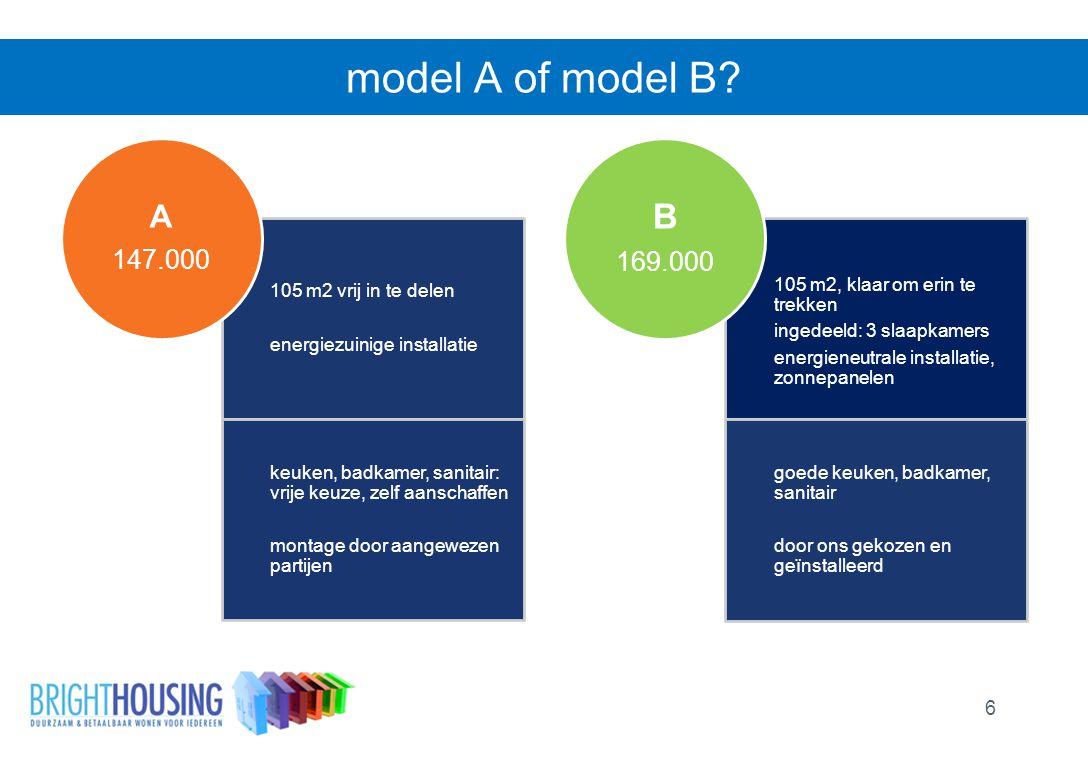 model A of model B? 6 105 m2 vrij in te delen energiezuinige installatie keuken, badkamer, sanitair: vrije keuze, zelf aanschaffen montage door aangew