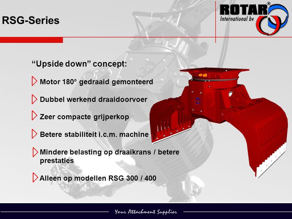 """RSG-Series """"Upside down"""" concept: Motor 180° gedraaid gemonteerd Dubbel werkend draaidoorvoer Zeer compacte grijperkop Betere stabiliteit i.c.m. machi"""