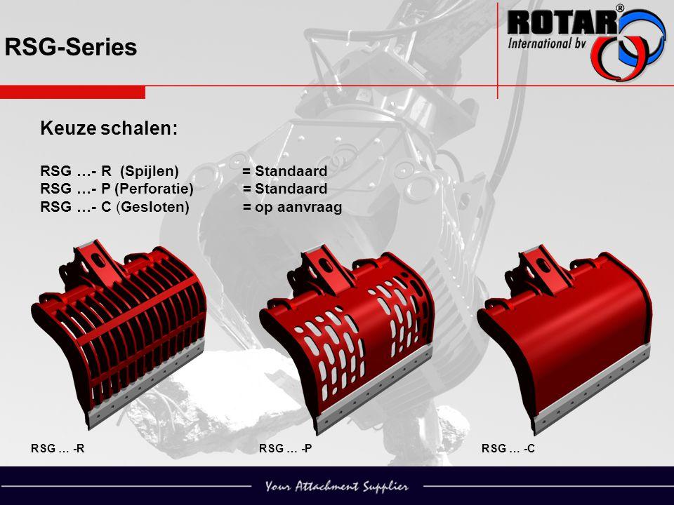 RSG-Series RSG … -RRSG … -PRSG … -C Keuze schalen: RSG …- R (Spijlen) = Standaard RSG …- P (Perforatie) = Standaard RSG …- C (Gesloten) = op aanvraag