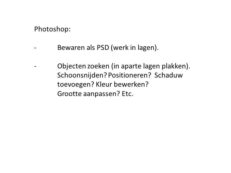Photoshop: -Bewaren als PSD (werk in lagen). -Objecten zoeken (in aparte lagen plakken).