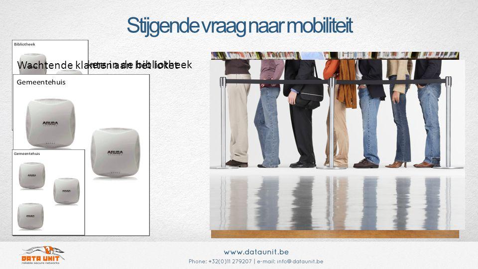 Stijgende vraag naar mobiliteit Mobiele gebruikers in de bibliotheek Wachtende klanten aan het loket