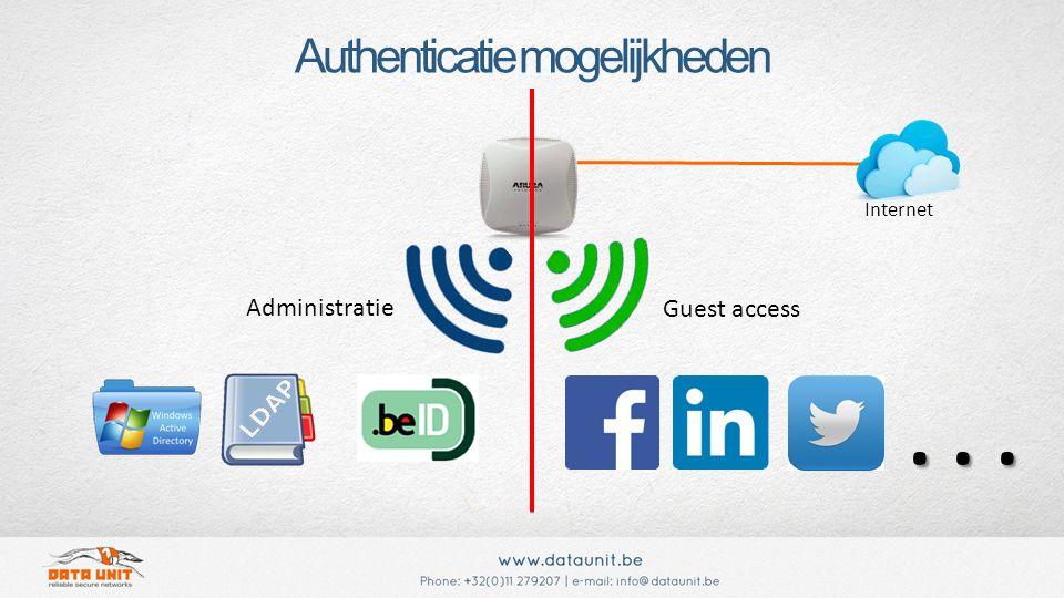 Authenticatie mogelijkheden Administratie Guest access Internet...