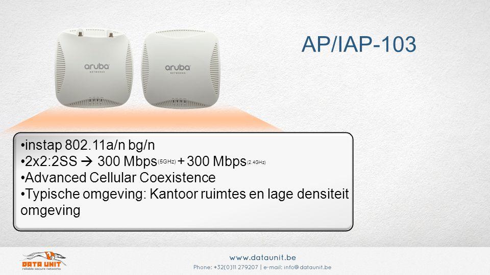 instap 802.11a/n bg/n 2x2:2SS  300 Mbps (5GHz) + 300 Mbps (2.4GHz) Advanced Cellular Coexistence Typische omgeving: Kantoor ruimtes en lage densiteit omgeving AP/IAP-103
