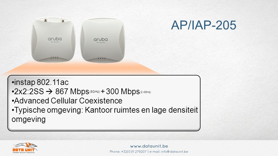 instap 802.11ac 2x2:2SS  867 Mbps (5GHz) + 300 Mbps (2.4GHz) Advanced Cellular Coexistence Typische omgeving: Kantoor ruimtes en lage densiteit omgeving AP/IAP-205