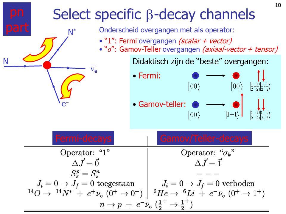 9 +1 pn-deel amplitude Fermi overgang  -decay: the weak interaction vertex pn ee e j e j pn pe   n e In het algemeen zitten p en n in kernen en h