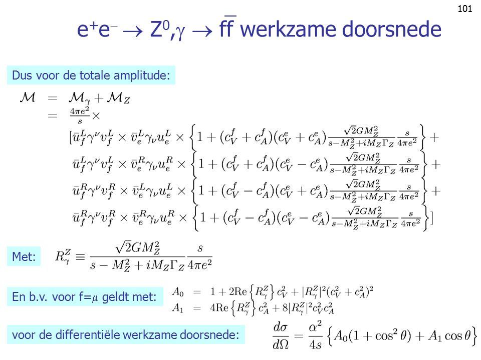 100 LEP I standaard fysica: e + e   Z 0,   ff ee e+e+ f f Z0Z0 ee e+e+ f f  Gebruikt: