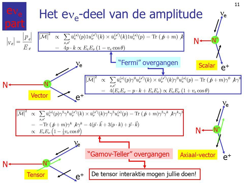 """10 Select specific  -decay channels Onderscheid overgangen met als operator: """"1"""": Fermi overgangen (scalar + vector) """"  """": Gamov-Teller overgangen ("""