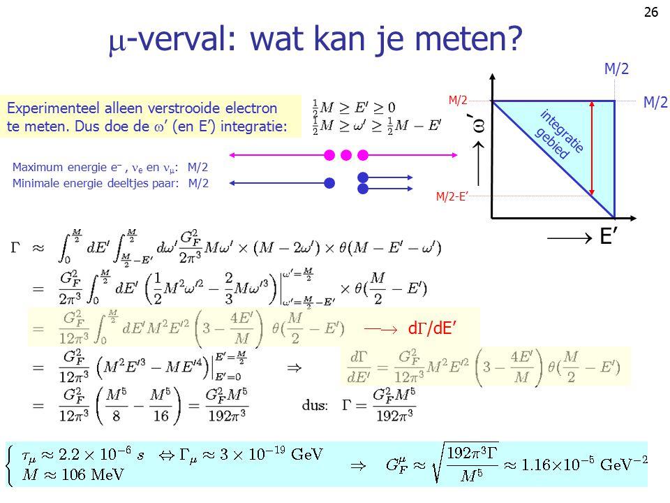 25 Blijft over:  -verval: faseruimte De faseruimte (3 deeltjes) is een 9-dimensionale integraal: Uit-integreren  -functie levert 6-dimensionale inte