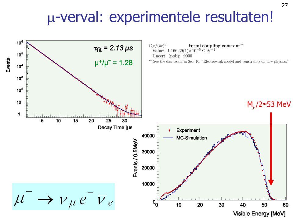26  -verval: wat kan je meten?   '  E' M/2 integratie gebied M/2 M/2-E' Experimenteel alleen verstrooide electron te meten. Dus doe de  ' (en E