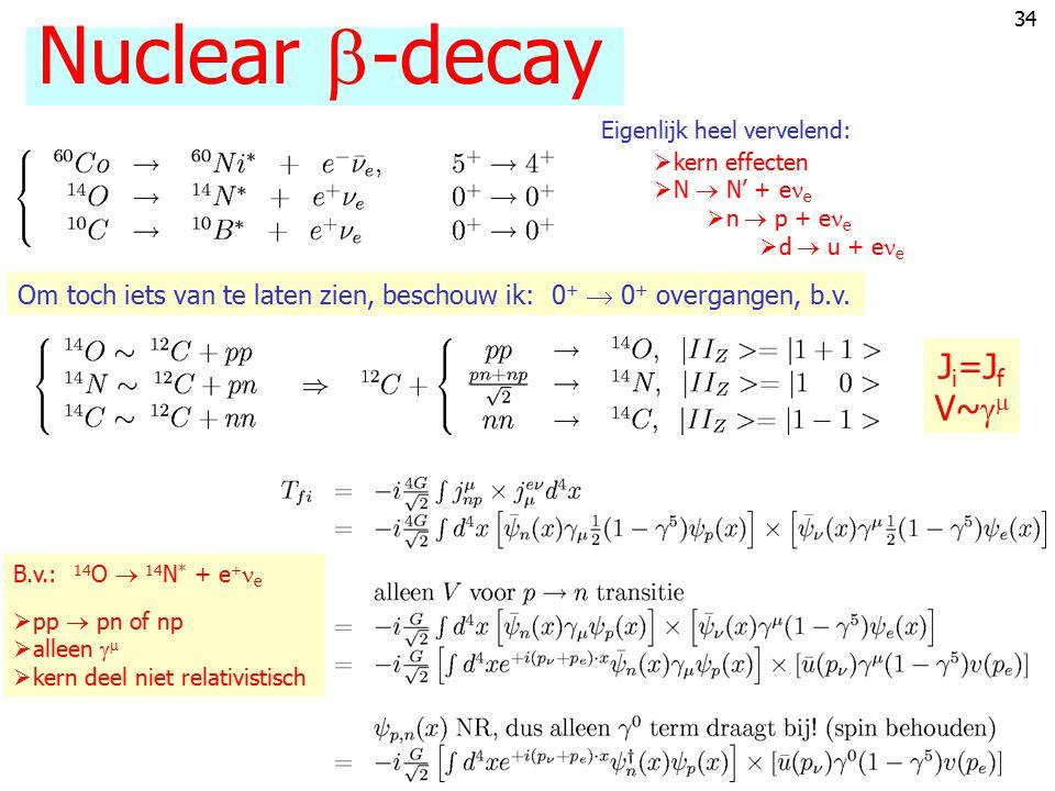 33 The decay of the neutron p k p' k' ee e n p WW Calculation: really tedious (m e  m n  m p ) Rewards:appreciation of calculation He/H abundanc