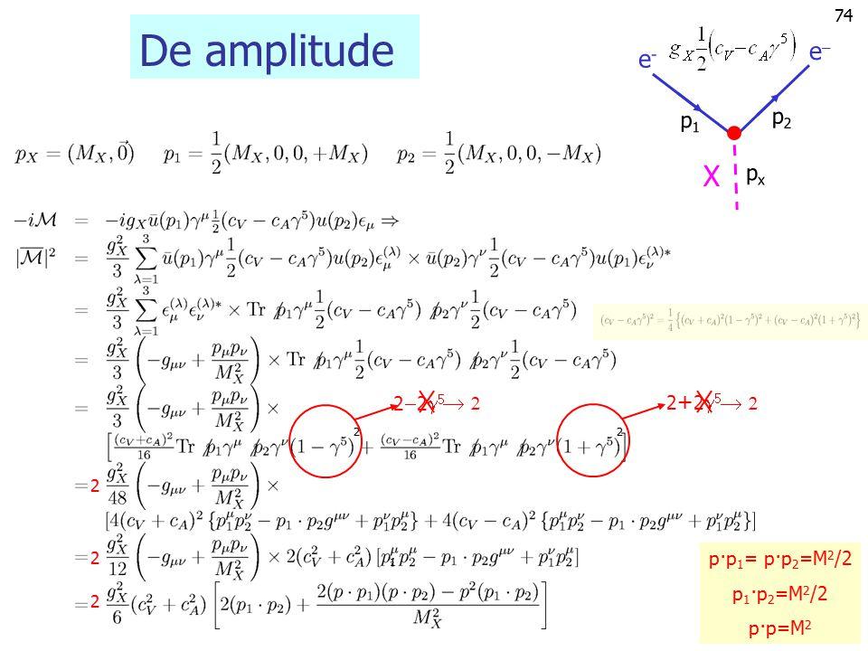73 Vervalsbreedten W-boson en Z-boson pxpx p1p1 p2p2 ee e+e+ Z0Z0 e e+e+ W+W+ pxpx p1p1 p2p2 Om in één keer W- en Z-boson berekening te doen neem ik