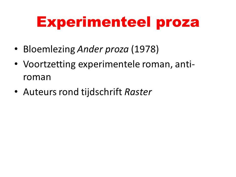Bloemlezing Ander proza (1978) Voortzetting experimentele roman, anti- roman Auteurs rond tijdschrift Raster