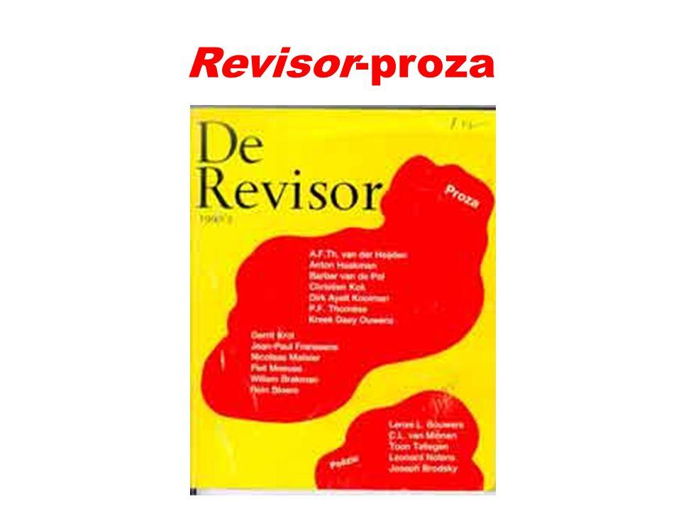 Discussie rond 1980 De Revisor (1974 -...) Kritiek op banaliteit realistische romans én op overdreven experiment academisme Reflectie op schrijverschap O.a.