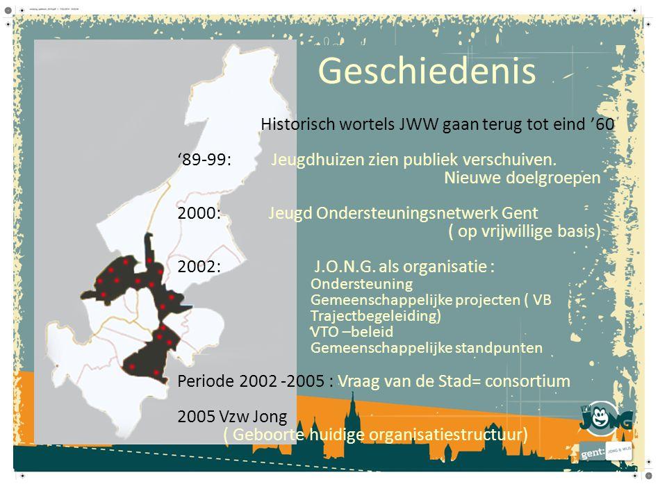 Geschiedenis Historisch wortels JWW gaan terug tot eind '60 '89-99: Jeugdhuizen zien publiek verschuiven.