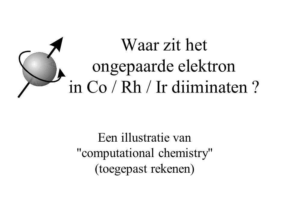 Waar zit het ongepaarde elektron in Co / Rh / Ir diiminaten .