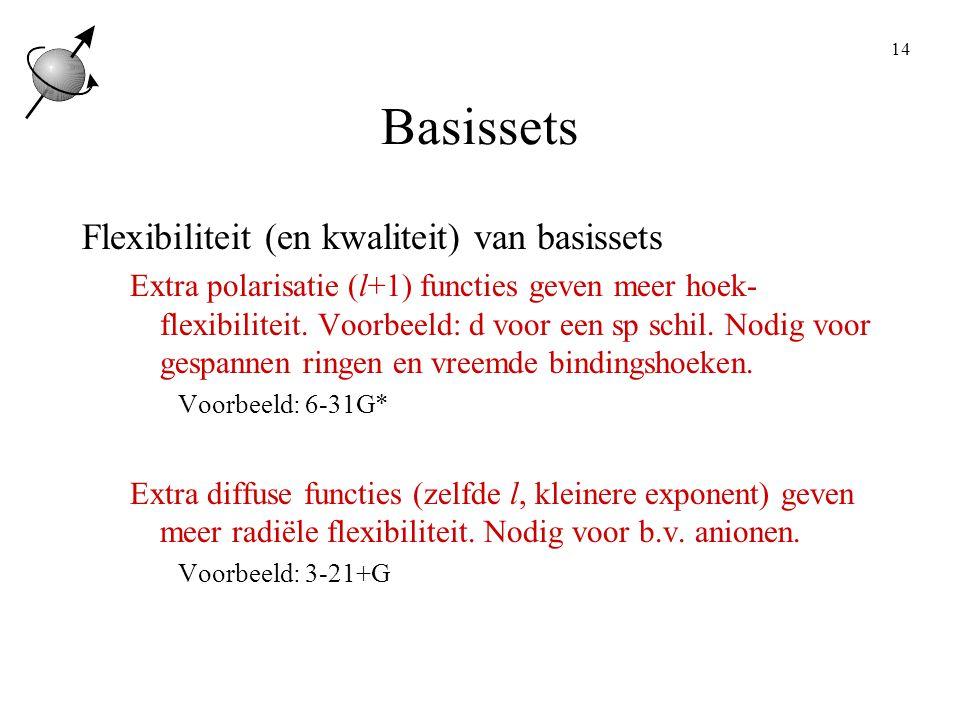 14 Basissets Flexibiliteit (en kwaliteit) van basissets Extra polarisatie (l+1) functies geven meer hoek- flexibiliteit.