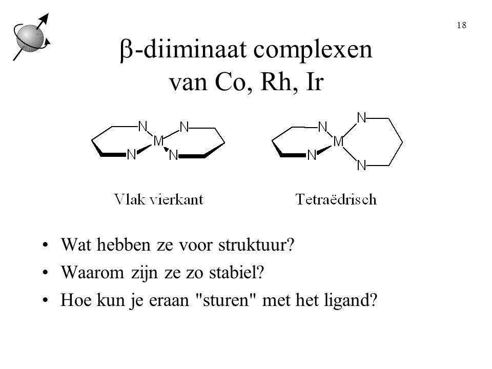 18  -diiminaat complexen van Co, Rh, Ir Wat hebben ze voor struktuur.