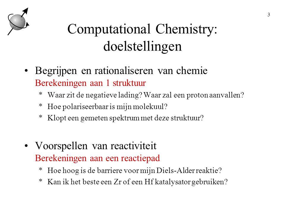 4 Computational Chemistry: aanpak Gebruik van standaard pakketten Je wilt rekenen, niet debuggen of het wiel uitvinden.