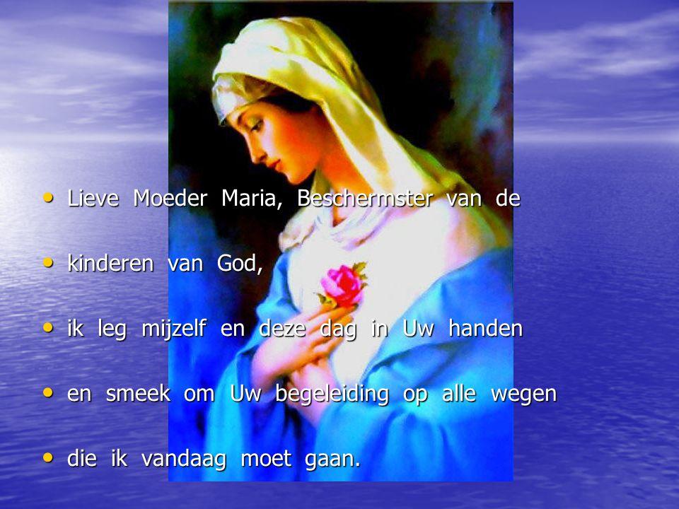 Lieve Moeder Maria, Beschermster van de Lieve Moeder Maria, Beschermster van de kinderen van God, kinderen van God, ik leg mijzelf en deze dag in Uw h