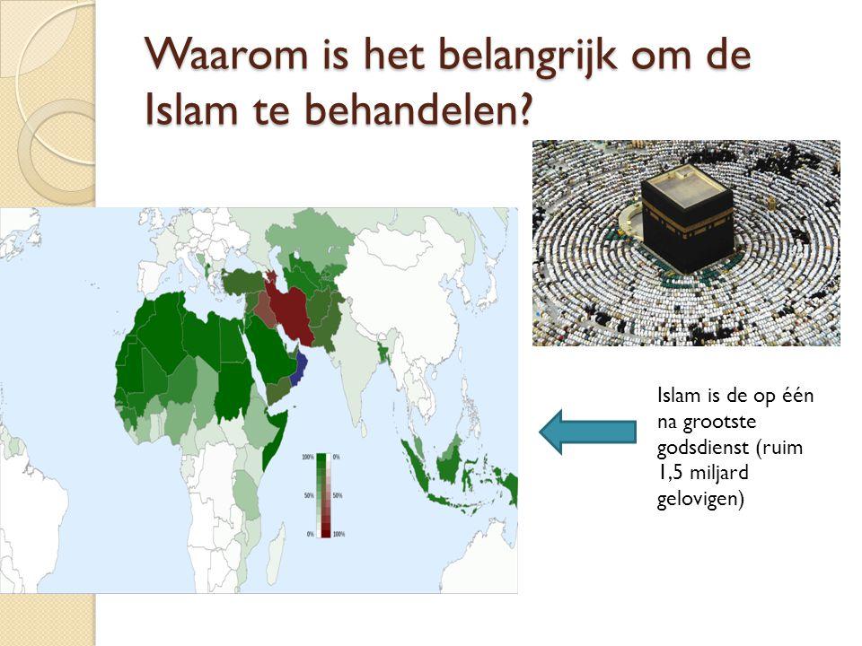 Waarom is het belangrijk om de Islam te behandelen? Islam is de op één na grootste godsdienst (ruim 1,5 miljard gelovigen)