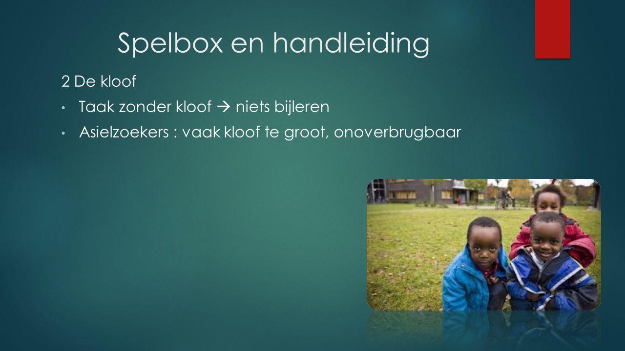 Spelbox en handleiding 2 De kloof Taak zonder kloof  niets bijleren Asielzoekers : vaak kloof te groot, onoverbrugbaar