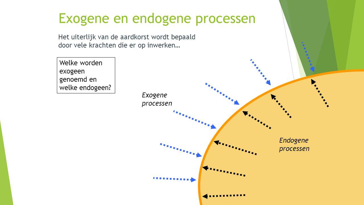 Exogene en endogene processen Het uiterlijk van de aardkorst wordt bepaald door vele krachten die er op inwerken… Van binnenuit Van buitenaf Welke wor
