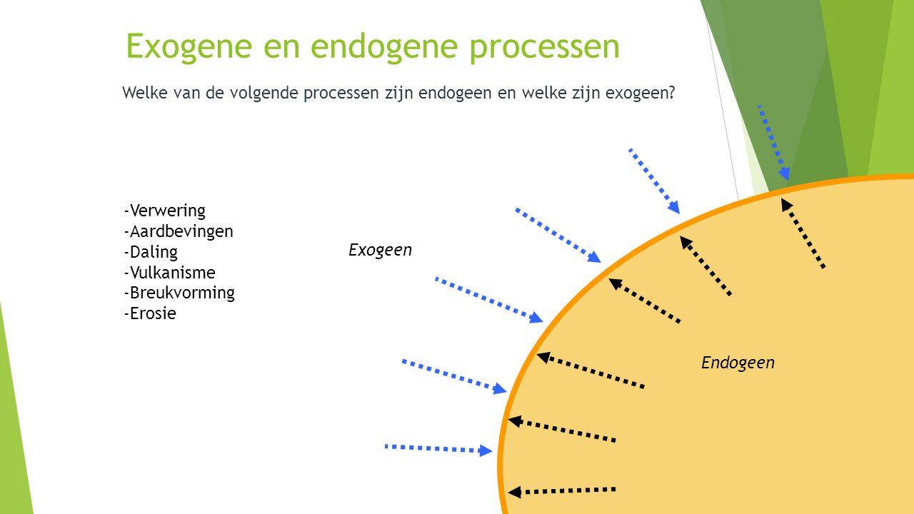 Exogene en endogene processen Welke van de volgende processen zijn endogeen en welke zijn exogeen? Endogeen Exogeen -Verwering -Aardbevingen -Daling -