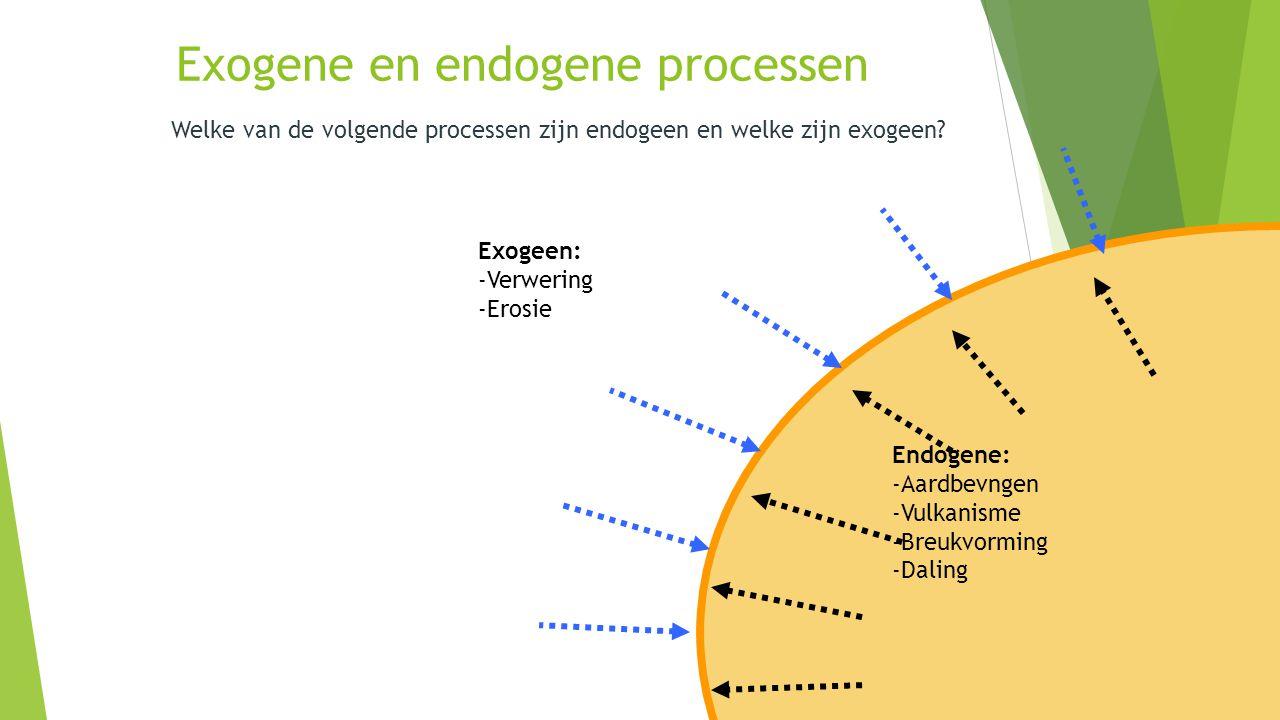 Exogene en endogene processen Endogene: -Aardbevngen -Vulkanisme -Breukvorming -Daling Welke van de volgende processen zijn endogeen en welke zijn exo