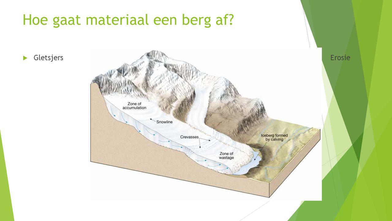 Hoe gaat materiaal een berg af?  Gletsjers  E Erosie