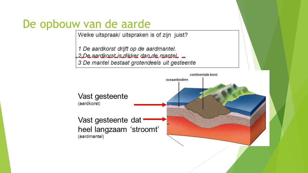 De opbouw van de aarde Vast gesteente (aardkorst) Vast gesteente dat heel langzaam 'stroomt' (aardmantel) Welke uitspraak/ uitspraken is of zijn juist