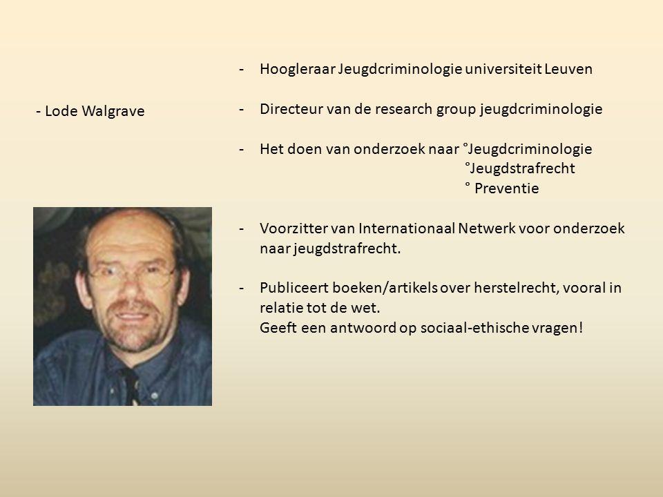 - Lode Walgrave -Hoogleraar Jeugdcriminologie universiteit Leuven -Directeur van de research group jeugdcriminologie -Het doen van onderzoek naar °Jeu