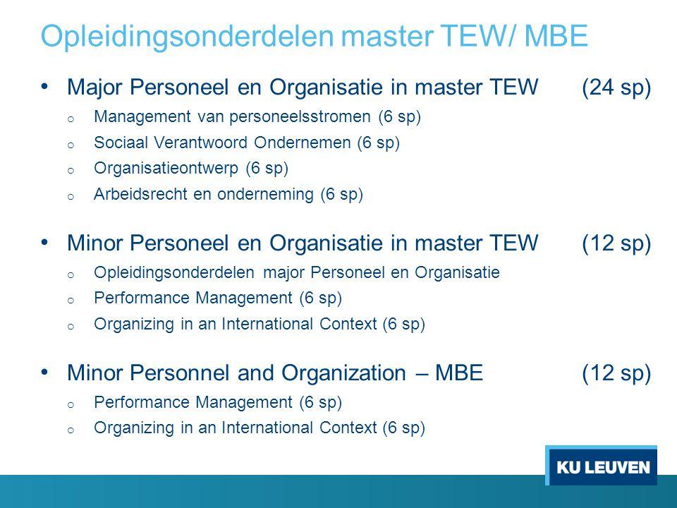 Opleidingsonderdelen master HIR Minor Personeel en Organisatie (24 sp) Plichtvakken o Management van personeelsstromen (6 sp) o Organisatieontwerp (6 sp) Keuzegroep o Sociaal Verantwoord Ondernemen (6 sp) o Performance Management (6 sp) o Organizing in an International Context (6 sp) o Arbeidsrecht en Onderneming (6 sp)