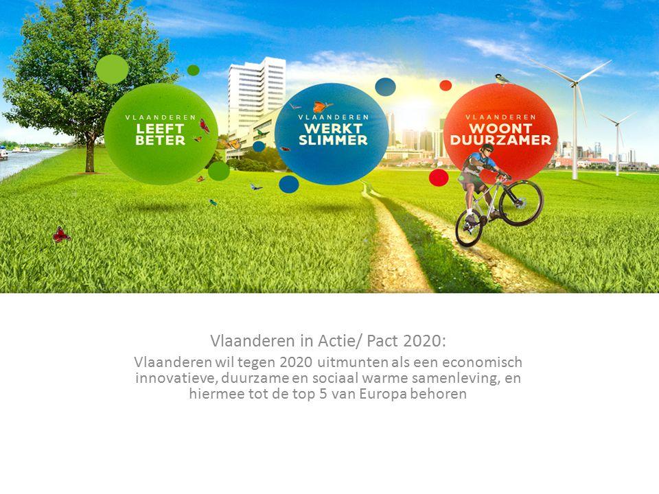 Vlaanderen in Actie/ Pact 2020: Vlaanderen wil tegen 2020 uitmunten als een economisch innovatieve, duurzame en sociaal warme samenleving, en hiermee tot de top 5 van Europa behoren