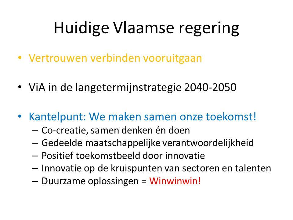 Huidige Vlaamse regering Vertrouwen verbinden vooruitgaan ViA in de langetermijnstrategie 2040-2050 Kantelpunt: We maken samen onze toekomst.