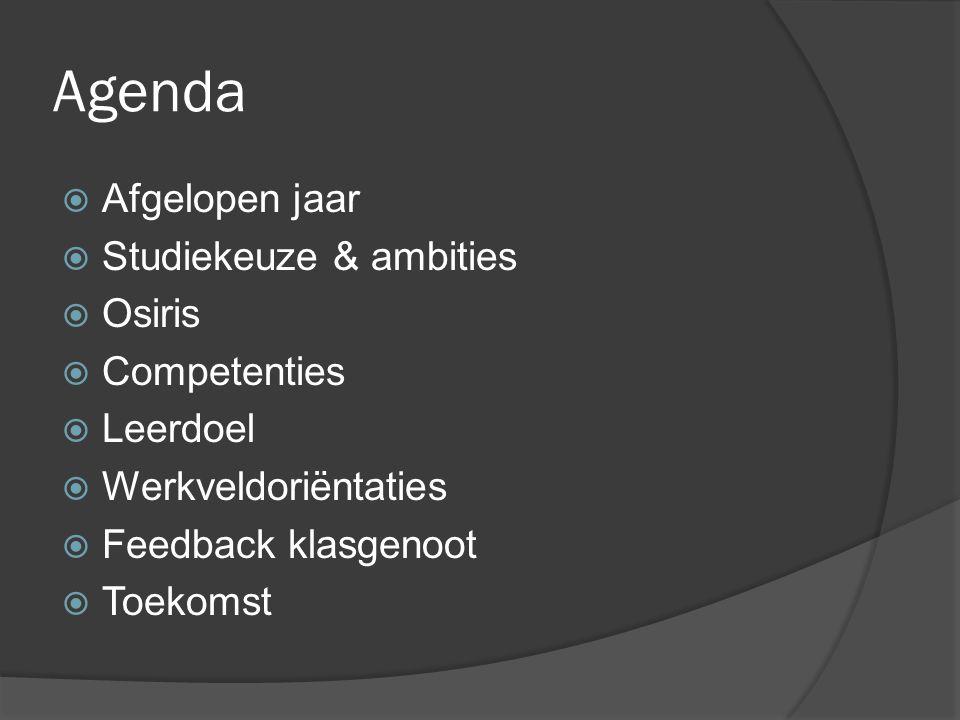 Agenda  Afgelopen jaar  Studiekeuze & ambities  Osiris  Competenties  Leerdoel  Werkveldoriëntaties  Feedback klasgenoot  Toekomst