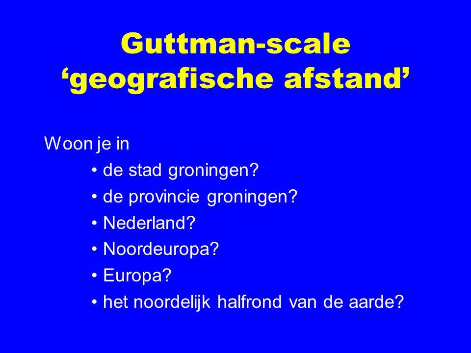 Guttman-scale 'geografische afstand' Woon je in de stad groningen.