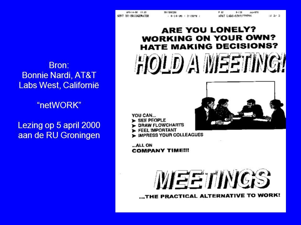Bron: Bonnie Nardi, AT&T Labs West, Californië netWORK Lezing op 5 april 2000 aan de RU Groningen