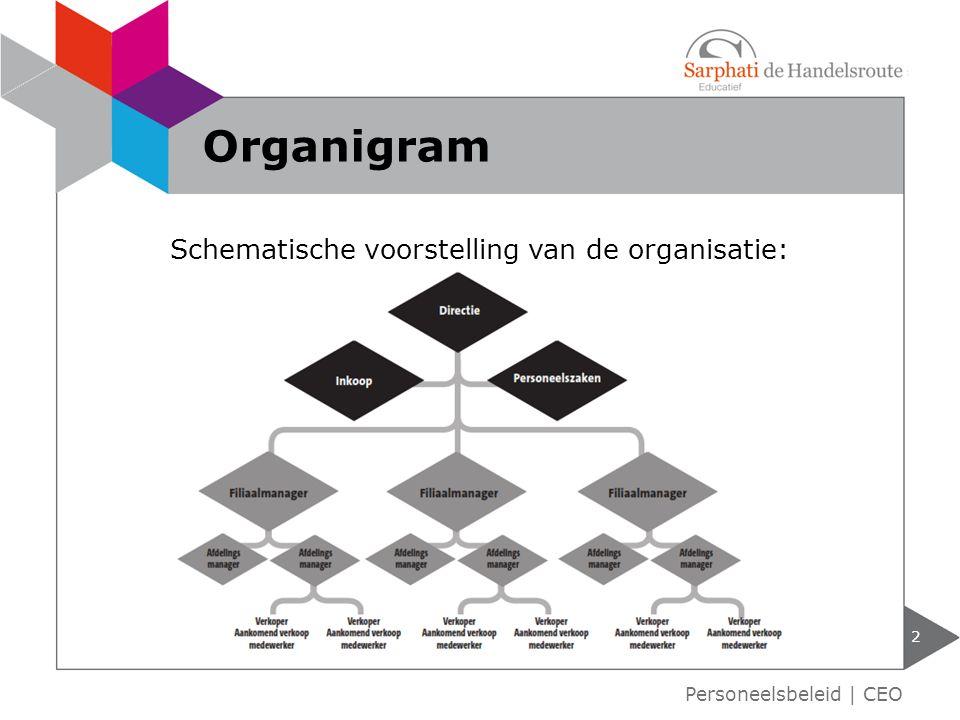 Schematische voorstelling van de organisatie: 2 Organigram Personeelsbeleid | CEO
