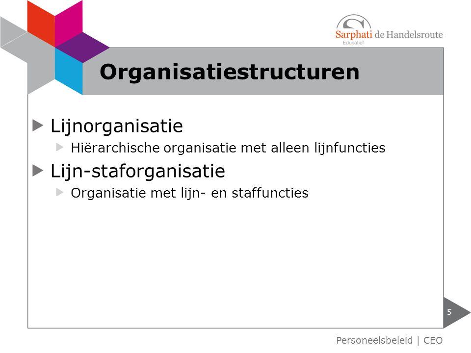 Lijnorganisatie Hiërarchische organisatie met alleen lijnfuncties Lijn-staforganisatie Organisatie met lijn- en staffuncties 5 Organisatiestructuren P