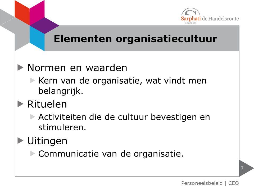 Normen en waarden Kern van de organisatie, wat vindt men belangrijk. Rituelen Activiteiten die de cultuur bevestigen en stimuleren. Uitingen Communica