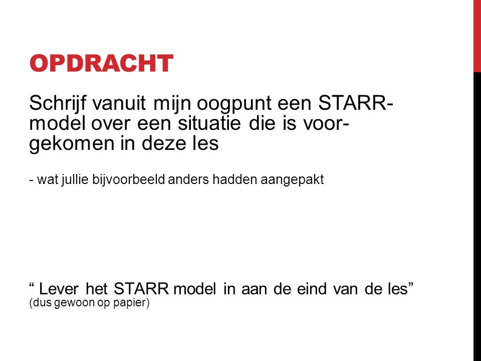 STARR-MODEL -SituatieConcrete situatie -Taak Wat was jouw rol? -ActieWelke acties hebt je ondernomen? -ResultaatWat was hiervan het resultaat -Reflect