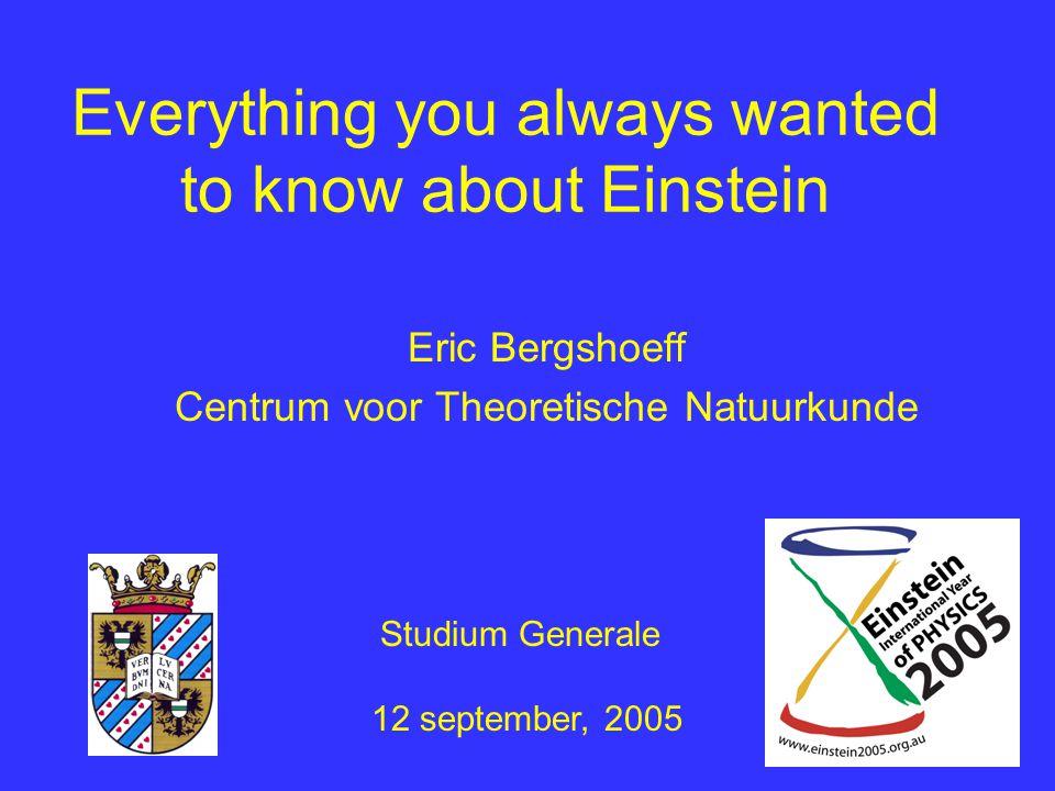 Einstein: 1919-1955 1922: Nobelprijs 1933: emigratie naar Amerika: Princeton 1936: Elsa overlijdt 1955: Einstein overlijdt 1939: brief Roosenvelt
