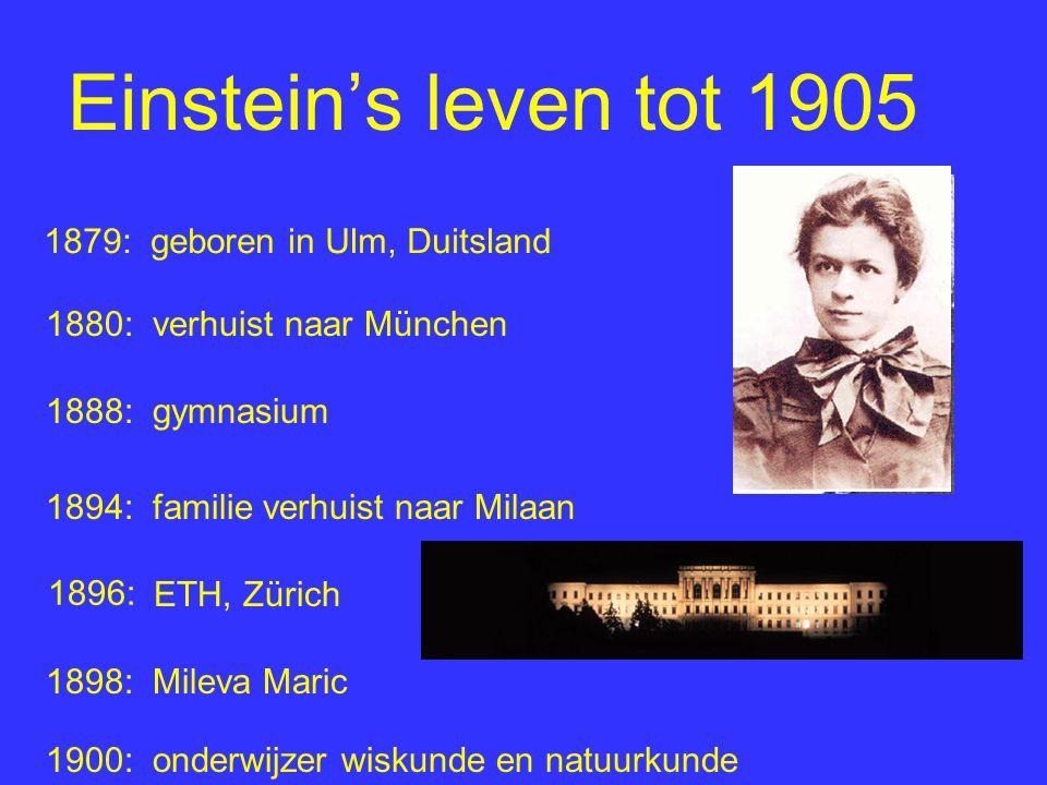 Einstein's leven tot 1905 1879: geboren in Ulm, Duitsland 1880: verhuist naar München 1888: gymnasium 1894: familie verhuist naar Milaan ETH, Zürich 1